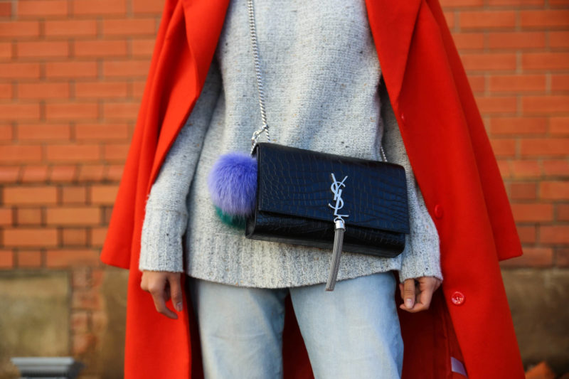 heyyy june ysl saint laurent croc embossed tassel bag orange coat winter style black stiletto mules