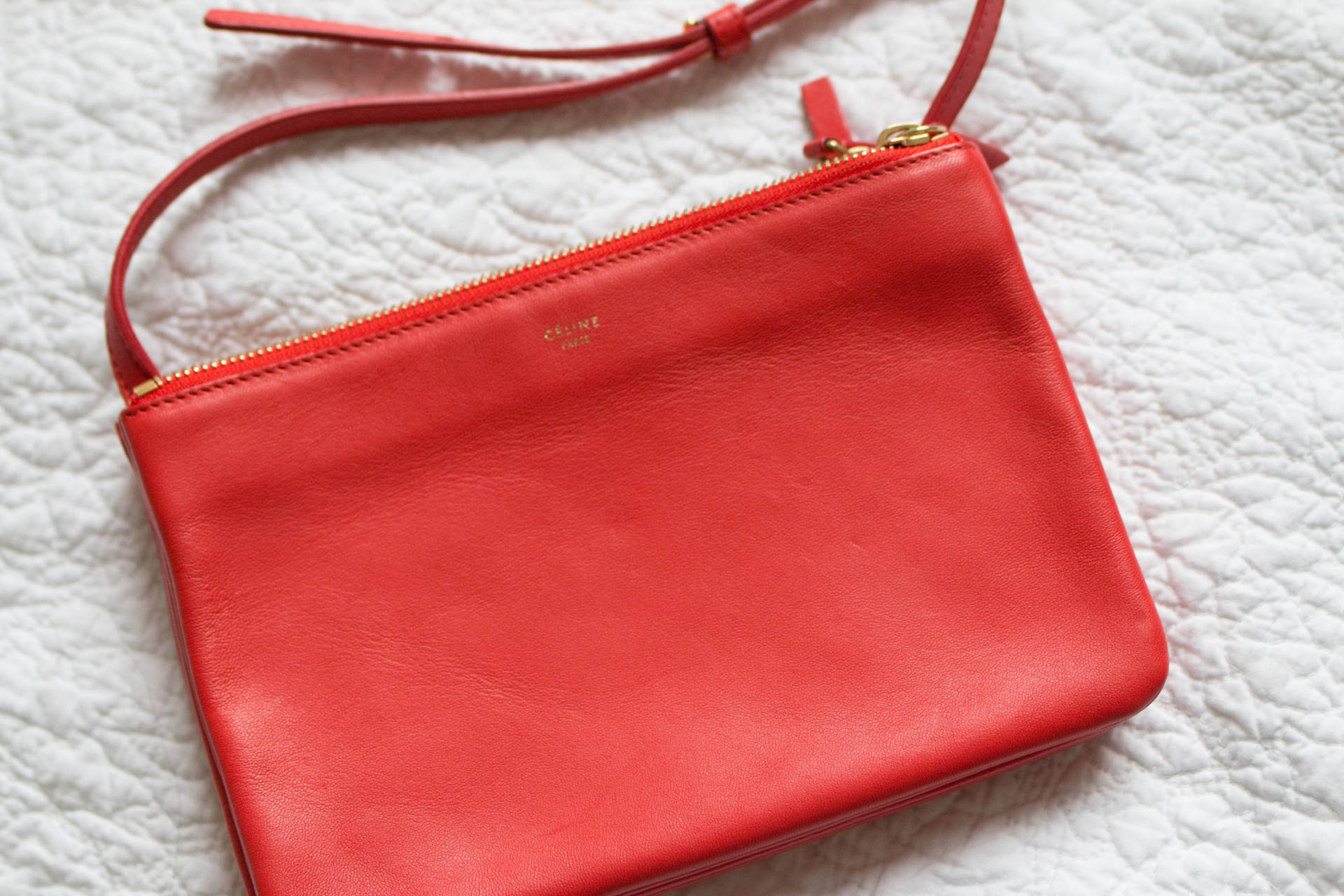 2473abcacc Celine Trio Small in Red Coral Lambskin Leather Gold Hardware ...
