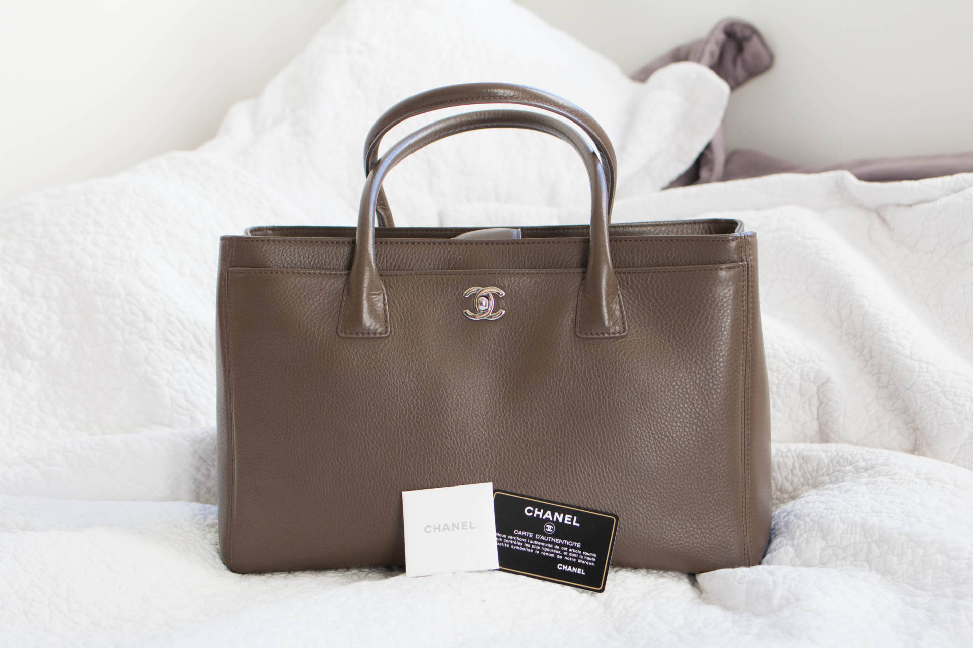c08d06217925 Chanel Executive Cerf Tote in Taupe Silver Hardware