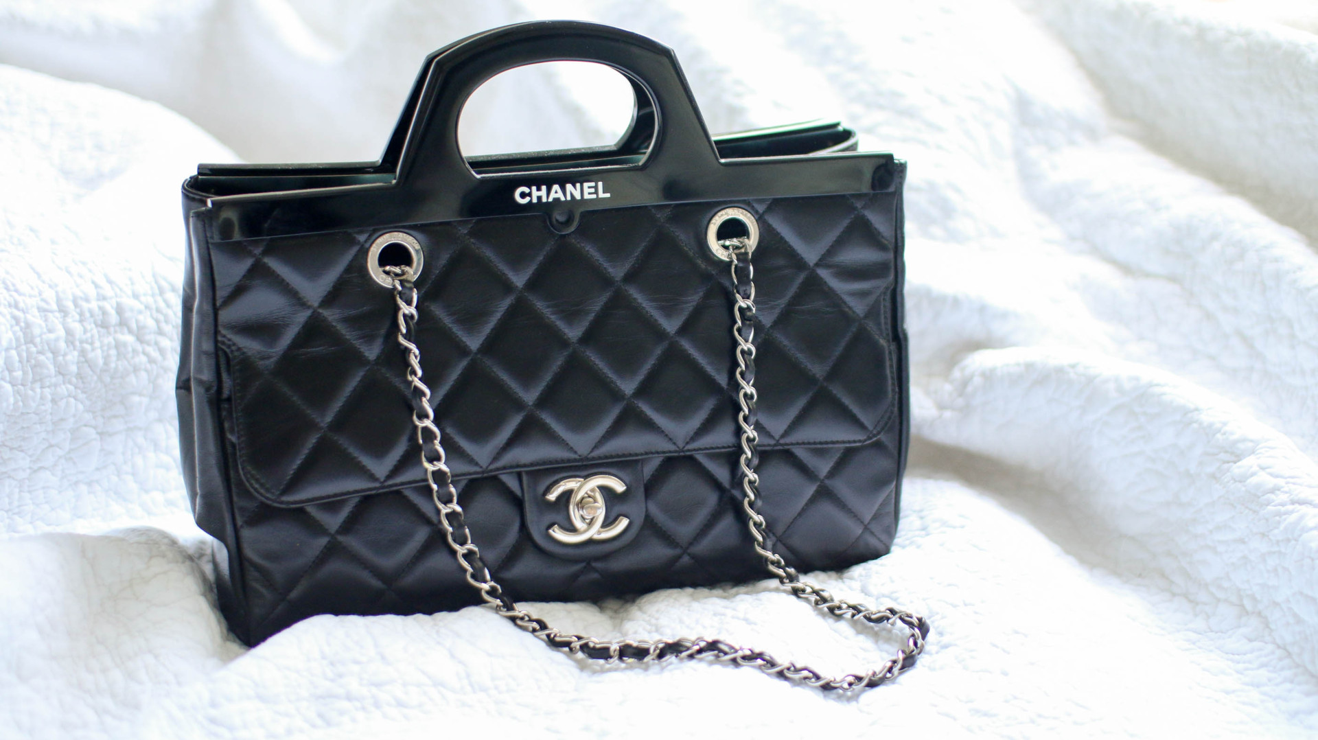 62843cafc4ec Chanel CC Delivery Tote Small Black with Silver Hardware (Limited Edition)
