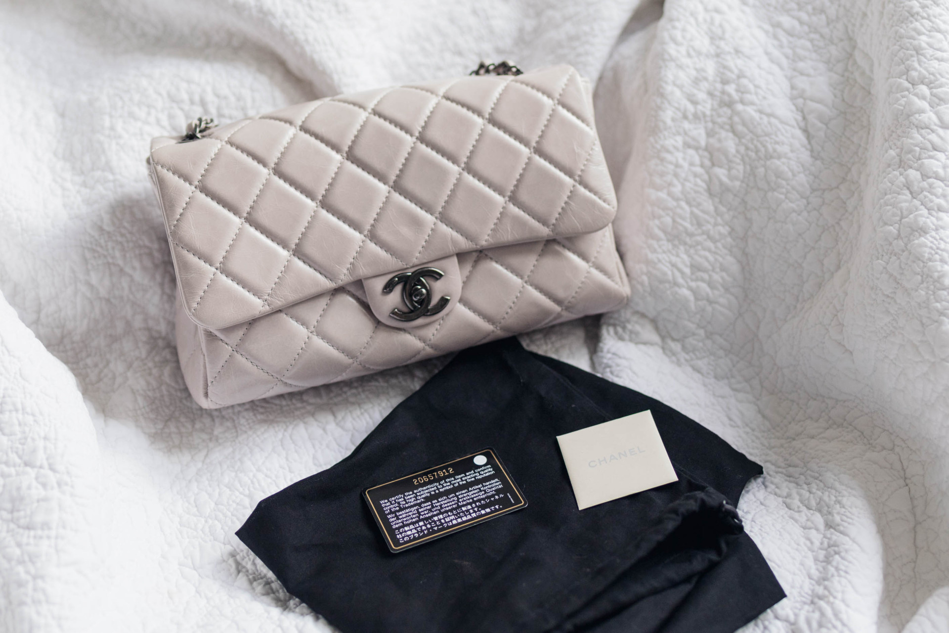 653dbecb7151 Chanel Seasonal Grey / Taupe Large Flap. Dustbag, authenticity card